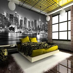 new york skyline de nuit noir et blanc papier peint. Black Bedroom Furniture Sets. Home Design Ideas