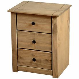 Panama 3 Drawer Bedside Table - New and Boxed