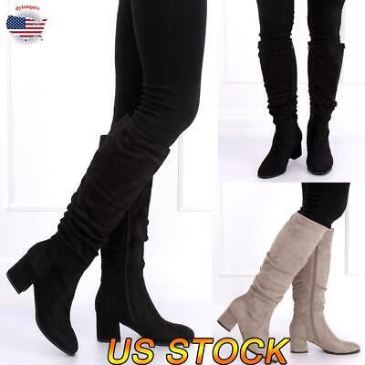 Women Knee High Boots Mid Calf Suede Booties Ladies Stretch Block Mid Heel Shoe Heel Knee High Stretch Boots