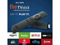 BRAND NEW AMAZON 2 ND GENERATION FIRE TV STICK WITH ALEXA VOICE REMOTE AND APPS