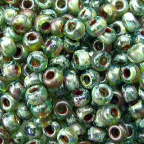 Miyuki Round Rocaille Seed Beads Size 8/0 Picasso Transprnt Olivine 22G (8-4506)