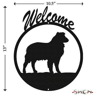 Australian Shepherd Black Metal Welcome Sign  New