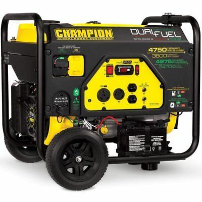 Champion 76533 - 3800 Watt Electric Start Dual Fuel Portable Generator W Rv ...