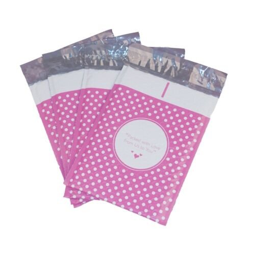 250 6x10 (Packed with Love from Us to You) Pink Dot Poly Bubble Shipping Mailers