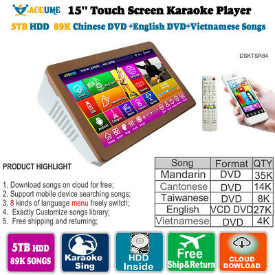 5TB HDD 89K Chinese,English,Vietnamese Songs,Touch Screen Karaoke Player,15