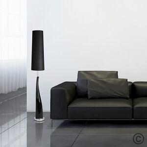 Modern Gloss Black Ceramic / Silver Chrome Floor Standing Standard Lamp Light