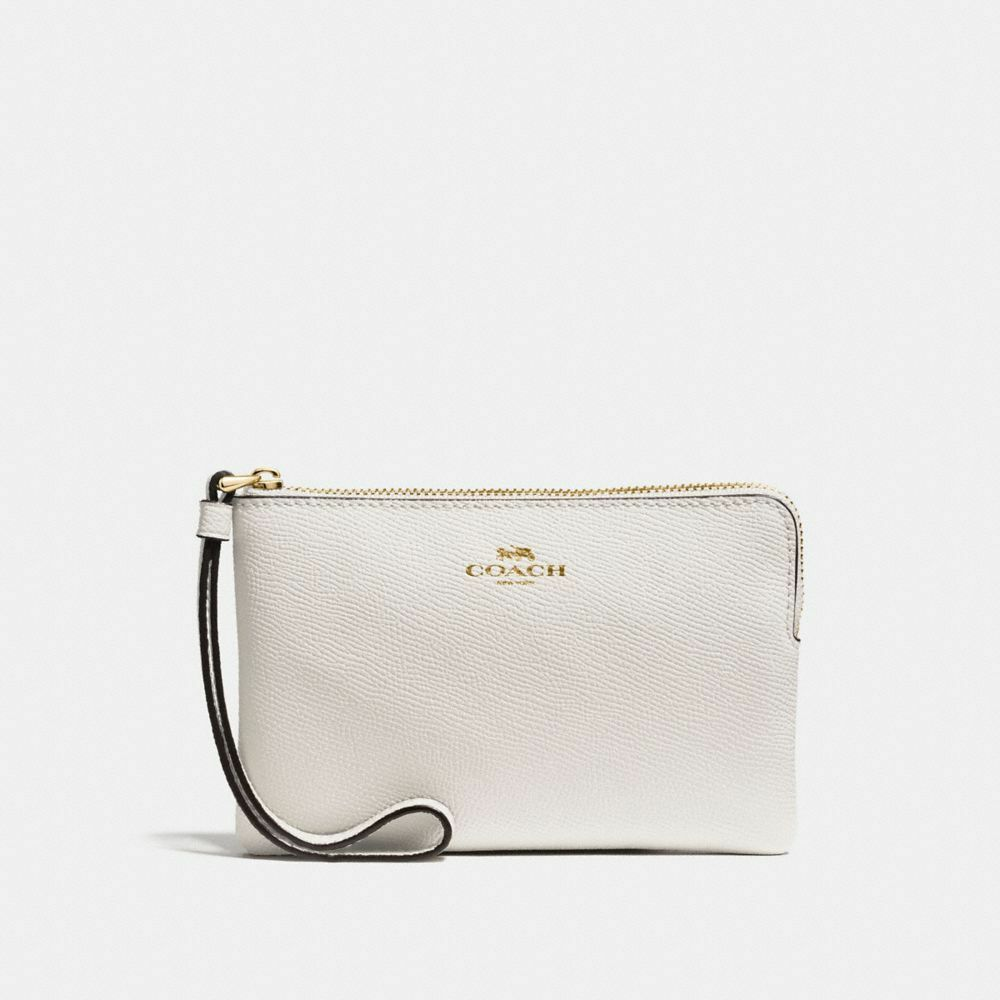 New Coach F58032 F58035 Corner Zip Wristlet With Gift Box New With Tags Chalk
