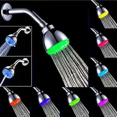 RGB 7 Colorful LED Light Shower Head Water Bath Bathroom Filtration Shower USA