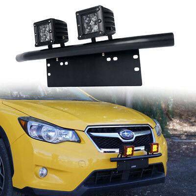 "Black Bumper License Plate Mount Bracket w/ 3"" 20W Rally LED Spot Driving Lights"