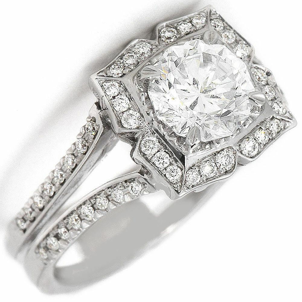 GIA Certified 1.93 CTW Round Cut Diamond Engagement Ring 14k White Gold 1
