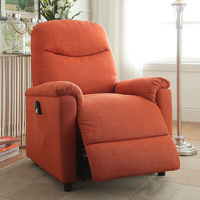 Catina Living Room Recliner Lounger Chair Power Lift Comfort Orange Plush Fabric for sale  Walnut