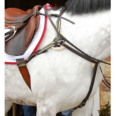 English Saddle Breastplate w//Martingale Full or Cob-BLK or BR Raised Leather