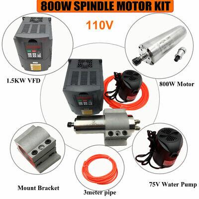 800w Cnc Spindle Motor 110v Water-cooled Er11 1.5kw Vfd Inverterbracketpump