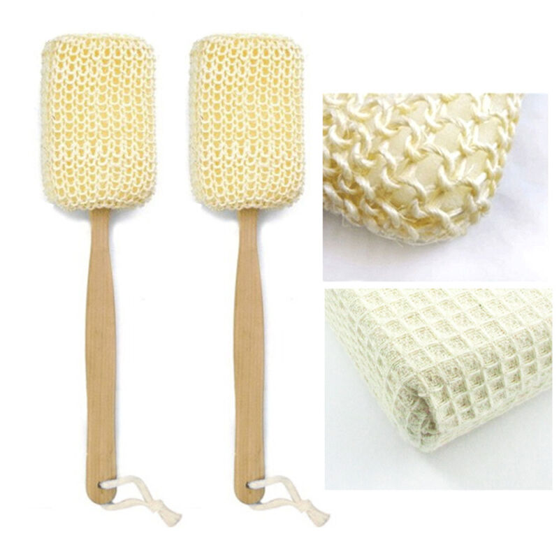2 Natural Sisal Fiber Back Brush Loofah Scrubber Spa Shower Sponge Long Handle