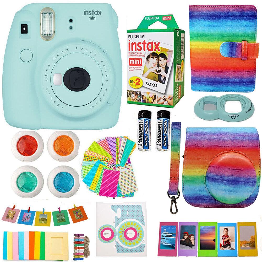 Fujifilm Mini 9 Instant Camera Blue + 20 Film Case, Album, F