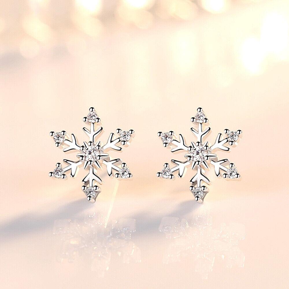Jewellery - Snowflake Crystal Stud Earrings 925 Sterling Silver Womens Girls Jewellery Gift
