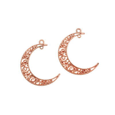 Double Hoop Ships Immediately from USA 4 20 or 50 BULK Crescent Moon Charms Silver 39x30mm AS261