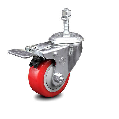 Poly Swvl Threaded Stem Caster W3 Red Wheel And 38 Stem Total Lock Brk