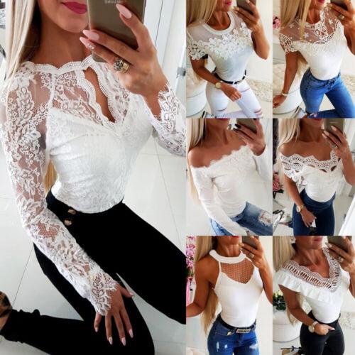 Damen Weiß Spitze Schulterfrei T-Shirt Bluse Sommer Oberteile Langarmshirt Tops