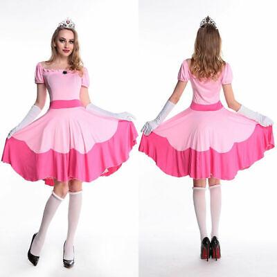 Luigi And Princess Peach (Adult Princess Peach Costume Women Super Mario Bros and Luigi Cosplay Pink)