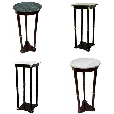 Hongville Cherry Wood Base Green / White, Square / Round Marble Top Plant Stand