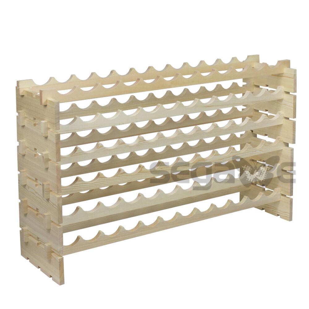 6 Tiers 72 Bottles Solid Wood Wine Rack Display Freestanding Shelves Wine Cellar Bar Tools & Accessories