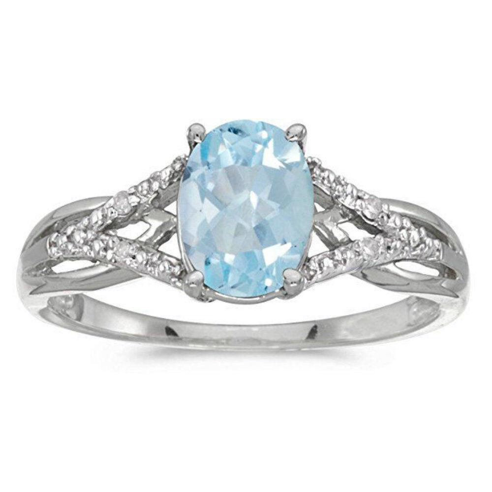 Silver Women Jewelry Aquamarine Ring Gemstone Wedding Party Bridal Ring Size 6-9 Fashion Jewelry