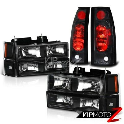 1994-1998 Chevy CK 1500 2500 3500 Silverado [10PC] Black Headlights Tail Lights