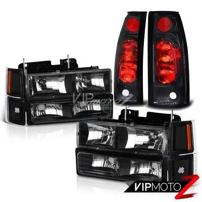 1994-1998 Chevy CK 1500 2500 3500 Silverado [10PC] Black Headlights Tail Lights