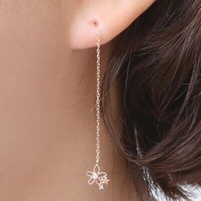TPD 14K Solid Rose Gold Daisy Long Threader Drop Dangle a Pair of Earrings