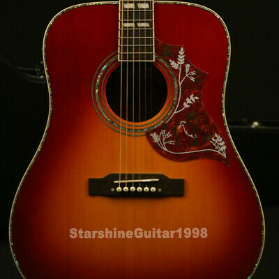 Acoustic Guitar Solid Spruce Top Bone Nut&Saddles Grover Tuner Free Hardcase