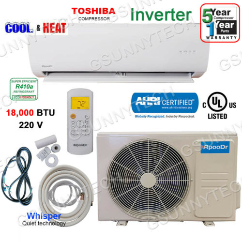 18000 BTU Ductless Air Conditioner Heat Pump Mini Split 220V 1.5 Ton With/KIT