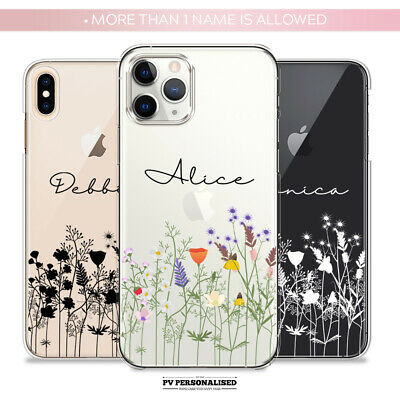 PERSONALISED INITIALS NAME SILICONE FLORAL PHONE CASE COVER IPHONE 6 7 8 XR X 11