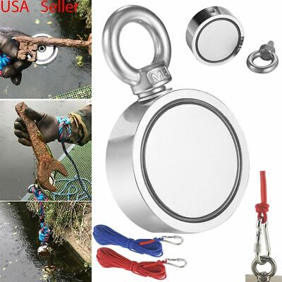 Usa 650lbs Pulling Force Fishing Magnet Rope Kit Round Double Sided Super Strong