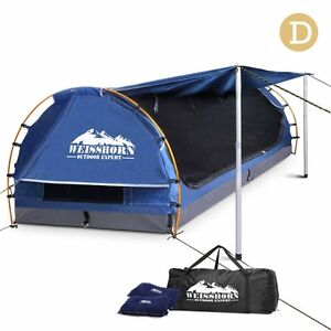 Double Camping Canvas Swag w/Mattress and Air Pillow-Blue Melbourne CBD Melbourne City Preview