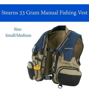 NEW Stearns 33 Gram Manual Fishing Vest Condtion: New, Small/Medium