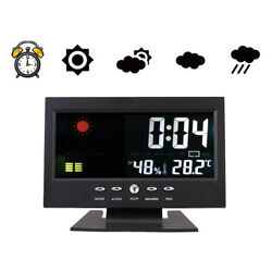 LED Digital Projection Alarm Clock Snooze Calendar Weather Monitor Color Display