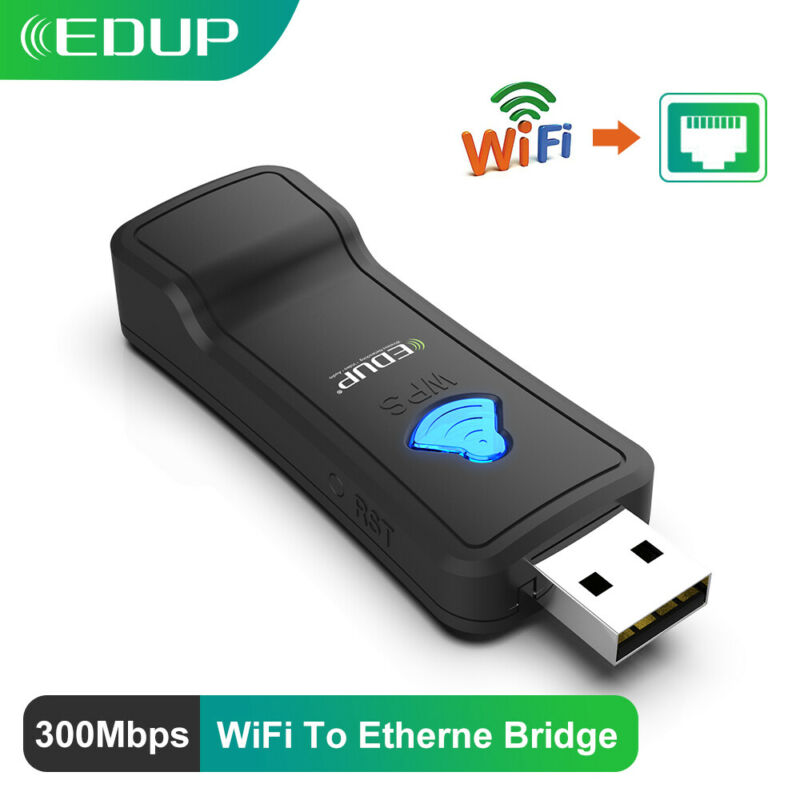 EDUP WiFi to LAN Converter Adapter Ethernet 300Mbps for Samsung Sony TV PS4