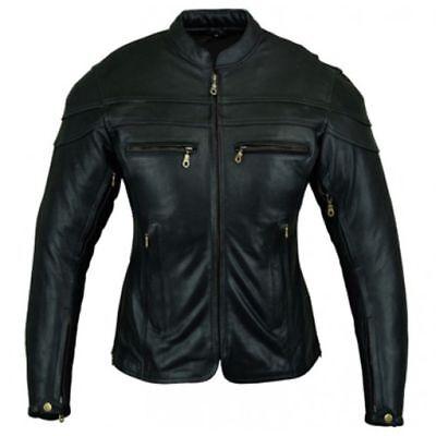 Bikers Gear Ladies Sturgis Motorcycle Crusier CE Armour Cowhide Leather Jacket ()