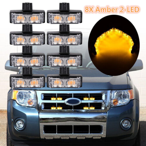 8X Amber 2-LED Car Front Grille Strobe Light Bar Warning Hazard Emergency Beacon