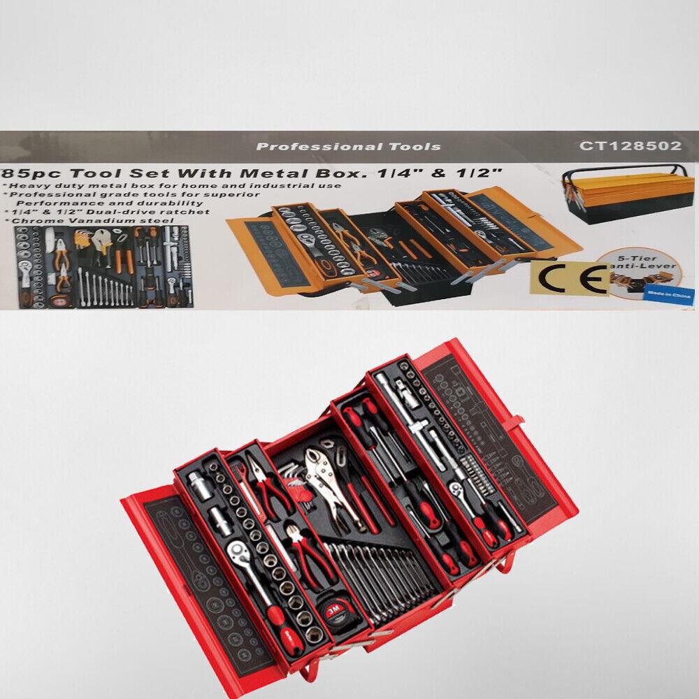 Cassetta Valigetta Metalbox Porta Utensili Da Lavoro Kit Con 85 Pezzi