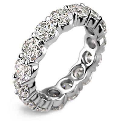 4.00CT Round cut 14K WHITE gold anniversary ETERNITY BAND  diamond ring F VS2 Cut White Diamond Band