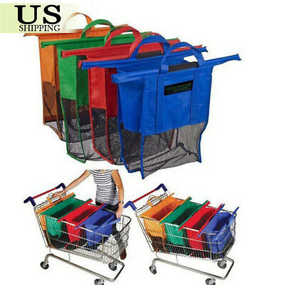 4pcs a set of Bags Reusable Eco Grocery Cart Trolley Shopping Bags 4 Colors