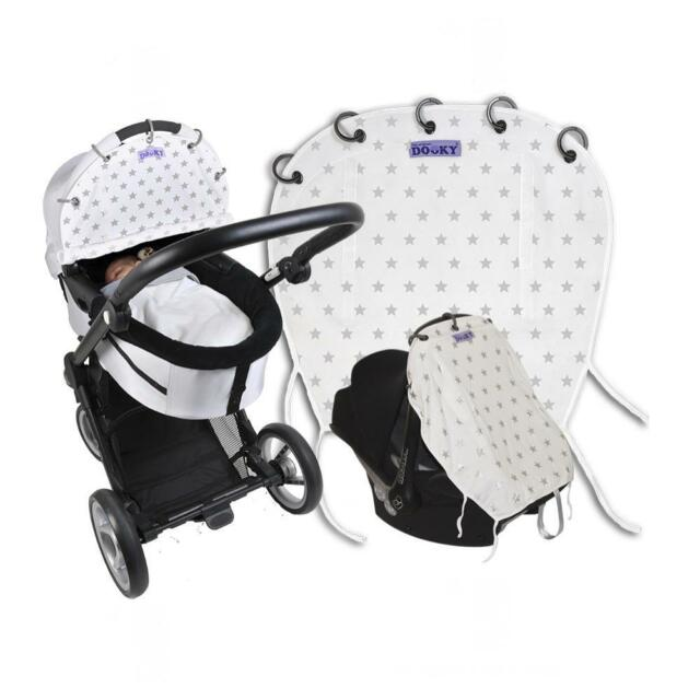 Dooky Universal Sun Shade Pram CarSeat Pushchair UV 40+ Protection Silver Stars