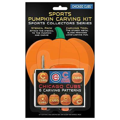 Chicago Cubs Halloween Pumpkin Carving Kit NEW! 6 - Carving Patterns Halloween