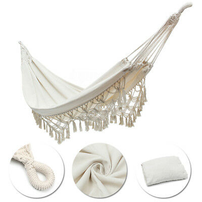 Double Hammock Bed Hanging Cotton Rope Macrame Fringe Swing Beach Yard Patio