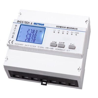 LCD digital Drehstromzähler Stromzähler, 2x S0, RS485 Modbus RTU, Hutschiene, PV