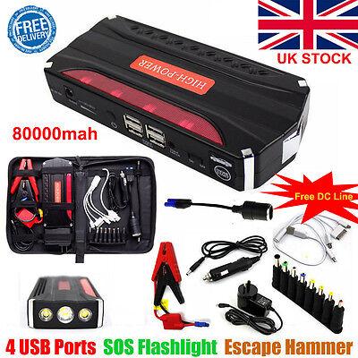 80000mAh Car Jump Starter Pack Booster Battery Charger 4 USB Power Bank UK