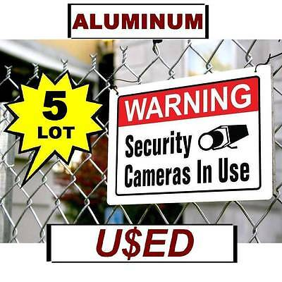 - 5 USED Warning Security Camera In Use 10x14