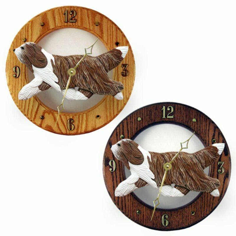 Bearded Collie Wood Clock Brown